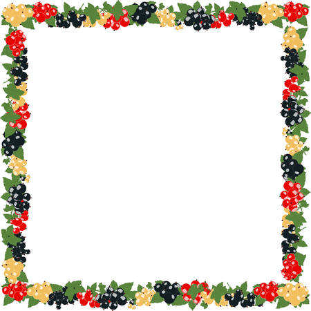 bezel: square frame with currants in clusters on a transparent background