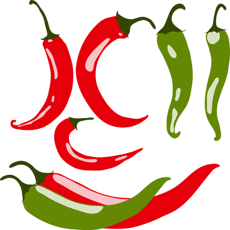 peppers: Set of chili peppers, vector illustration, isolated, on white background.