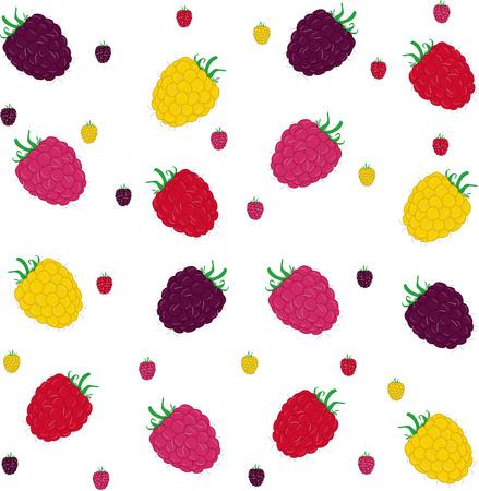raspberry pink: Raspberries seamless pattern. Vector illustration.