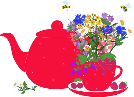 campanula: Red teapot and cup with herbs and berries