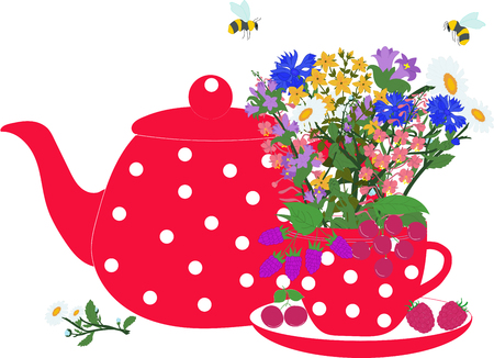 Red teapot and cup with herbs and berries
