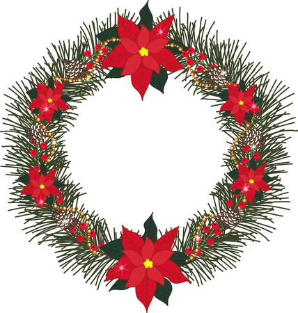 pine cones: Spruce wreath with flowers poinsettia, pine cones, berries, beads and glitter on a transparent background