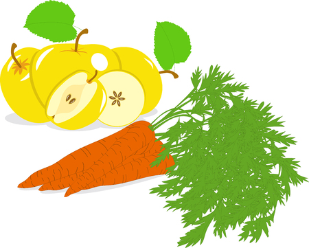 yellow apple: Carrot and yellow apple, vector illustrations on a transparent background Illustration