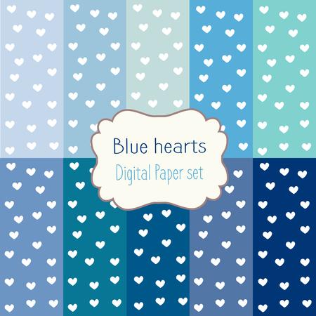 corazones azules: 10 documentos digitales corazones azules patrones mixtos fondos estampados, juego de papel digital