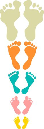gait: Cute and colorful family footprints seamless pattern white background