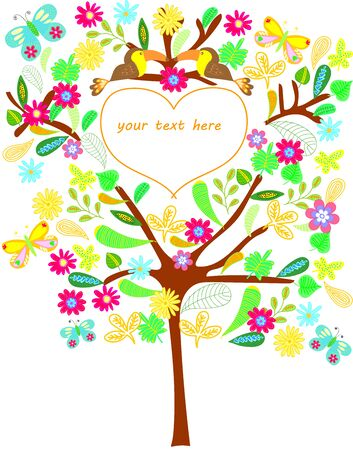 compliment: Tree with flowers, leaves, butterfly and toucan on a white background Illustration