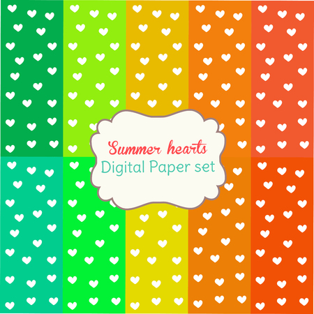 digital paper: 10 Digital Papers Rainbow Mixed Patterns Patterned Backgrounds Summer hearts, digital paper set