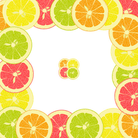 grapefruit: square frame from pieces of lemon, orange, lime, grapefruit on a transparent background