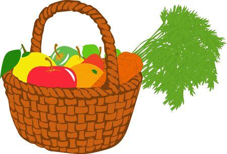 fruit basket: Fruit basket, vector illustrations on a transparent background Illustration