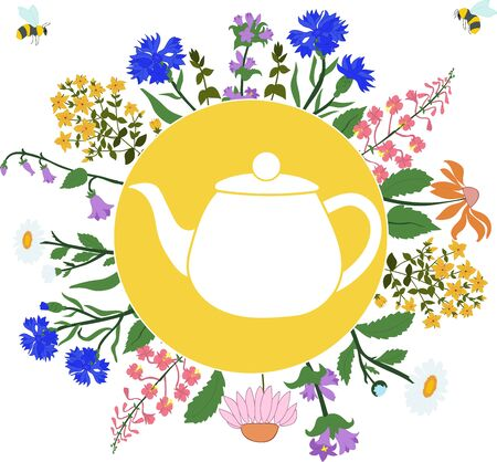 chamomile tea: Herbs around the teapot in the circle on white background with flying bees Illustration