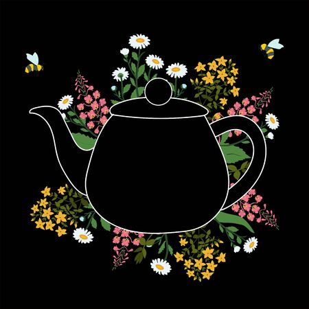 Herbs around the teapot on a black layer with the flying bees