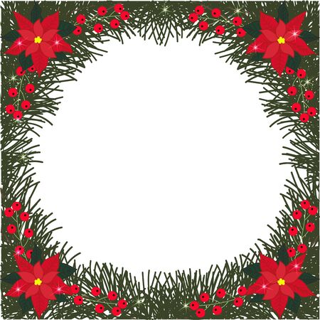 red currant: Spruce round frame with flowers of poinsettia, berries and glitter on a transparent background