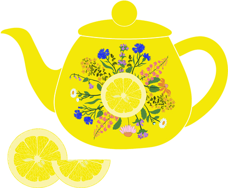 Lemon teapot with herbs and lemon on a transparent background