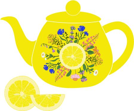 透明な背景にレモンとハーブ レモン ティーポット 写真素材 - 52844614
