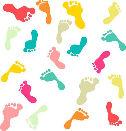 big foot: Cute and colorful family footprints seamless pattern white background