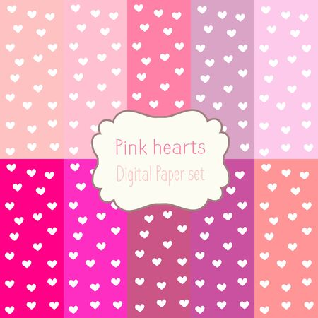 pink hearts: 10 Digital Papers pink hearts Mixed Patterns Patterned Backgrounds, digital paper set