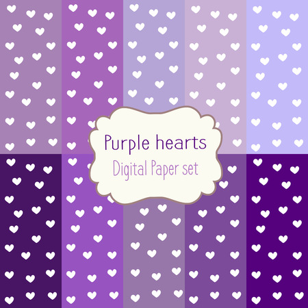 digital paper: 10 Digital Papers purple hearts Mixed Patterns Patterned Backgrounds, digital paper set