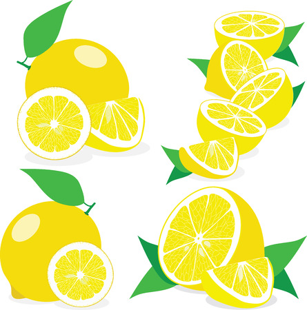 lemon slices: Lemon slices, collection of vector illustrations on a transparent background
