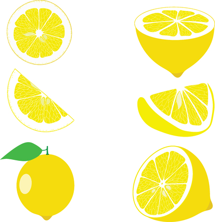 organic lemon: Lemon slices, collection of vector illustrations on a transparent background