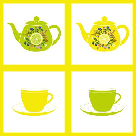 herbal background: Teapot with cup, herbal tea. Seamless pattern. Vector background Illustration