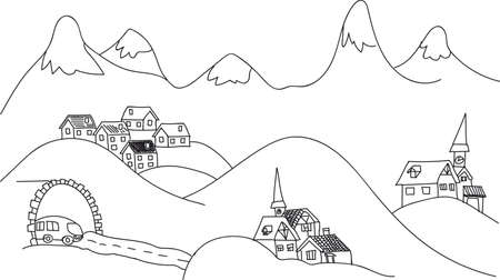 snowcapped mountain: sketch, Alpine a picture of mountains, houses, tunnel, bus and snow-capped mountains, black and white, on a transparent background Illustration