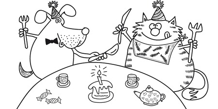 Dog and cat sit at the table, eat cake, drink tea, black-white image on a transparent background