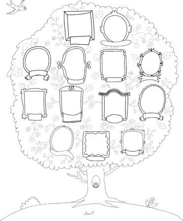 árbol genealógico: Árbol genealógico, árbol genealógico, vector de fondo, blanco y negro dibujo Vectores