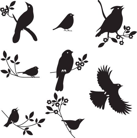 redbreast: Collection of Bird Silhouettes, colored silhouettes