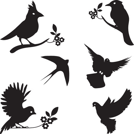 Collection of Bird Silhouettes, colored silhouettes