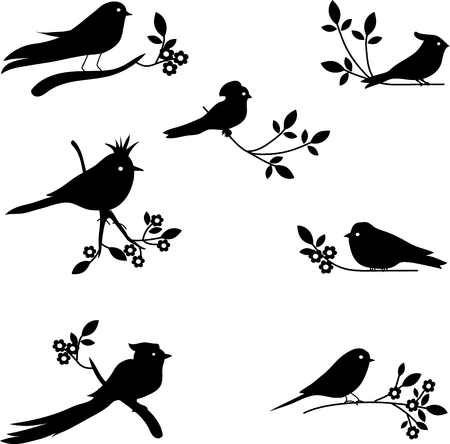 halcyon: Collection of Bird Silhouettes, colored silhouettes
