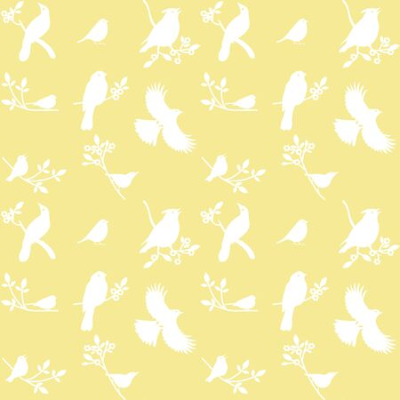 redbreast: Collection of Bird Silhouettes on a yellow background. Illustration