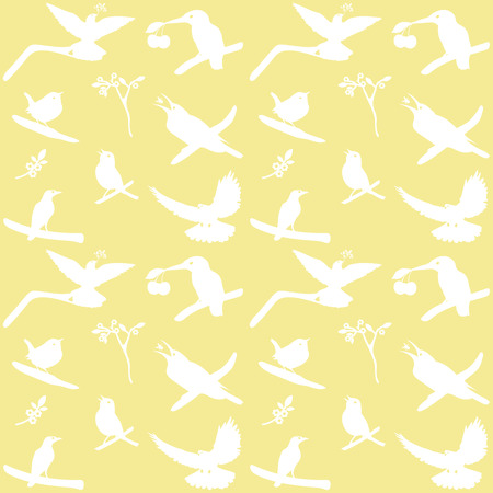 halcyon: Collection of Bird Silhouettes on a yellow background. Illustration