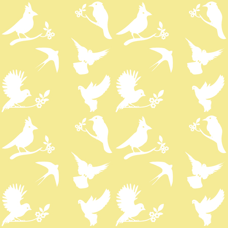 Collection of Bird Silhouettes on a yellow background. Illustration