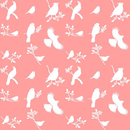 redbreast: Collection of Bird Silhouettes on a pink background. Illustration