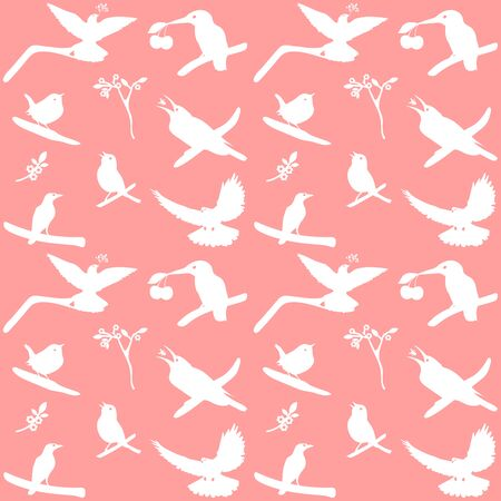 halcyon: Collection of Bird Silhouettes on a pink background. Illustration