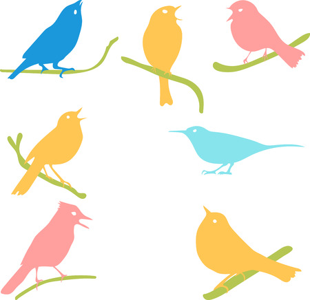 halcyon: Vector Collection of Bird Silhouettes, colored silhouettes
