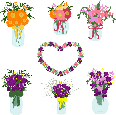 herbera: Bouquets of iris, freesia, dahlias, tulips, herbera, lily in jars with bows