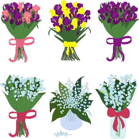 Bouquets of iris and lilies of the valley in jars with bows Illustration