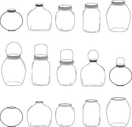 Jars set, silhouettes jars, vector illustration, transparent jars.