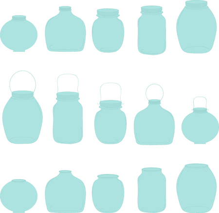 Jars set, blue jars, vector illustration, transparent jars.