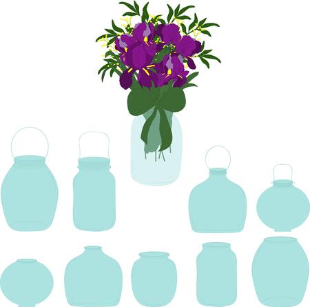 food preservation: Jars set, bouquet of irises in a jar, vector illustration