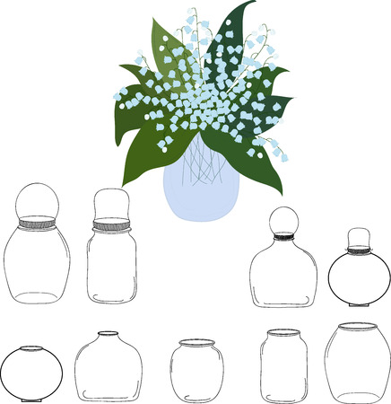 food preservation: Jars set, bouquet of lilies of the valley in jar, vector illustration