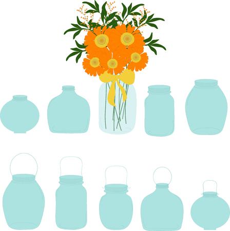 food preservation: Jars set, bouquet of herberas in jar, vector illustration.