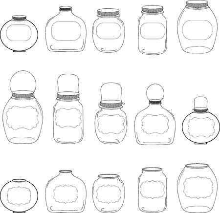Jars set, jar with label, silhouettes jar, vector illustration Ilustração