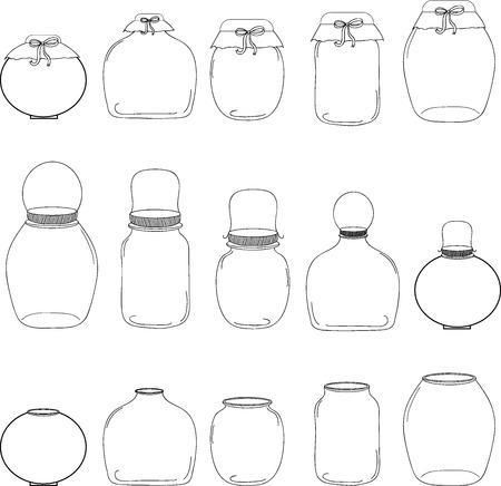 Jars set, jar with bow, silhouettes, vector illustration. Ilustração