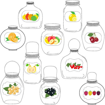 glass jar: Jars set, label with fruits and berries, silhouettes, vector illustration.