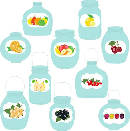 food preservation: Jars set, label with fruits and berries, silhouettes, vector illustration.