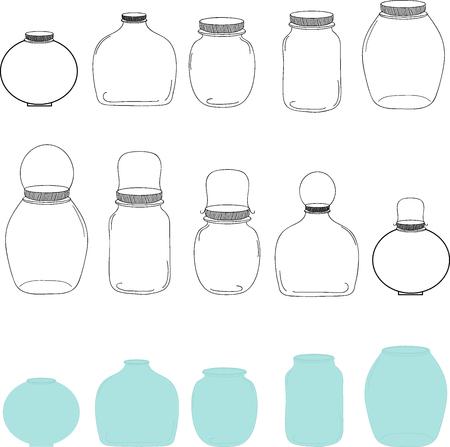 Jars set, silhouettes jars, transparent and blue jars, vector illustration. Ilustração