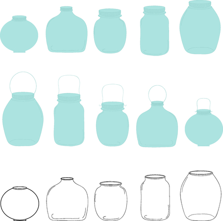 jars: Jars set, silhouettes jars, transparent and blue jars, vector illustration. Illustration