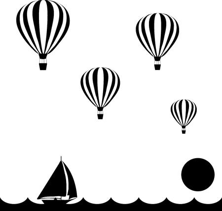 aeróstatos están volando en el cielo sobre el mar al atardecer, por debajo del barco de vela, ilustración vectorial